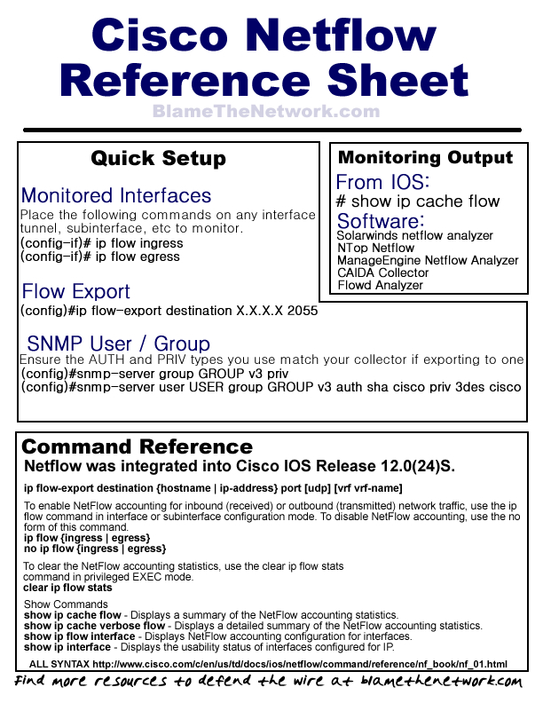 Netflow Quick Reference  Resume Cheat Sheet