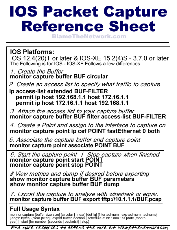 IOS Packet Capture Reference Sheet